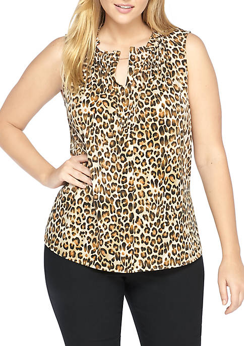 Plus Size Printed Ruffle Neck Sleeveless Top