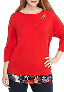 Plus Size Knit Sweater with Attached Print Top