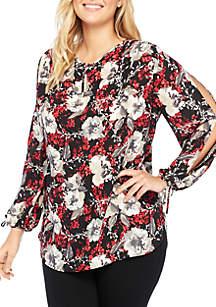 Plus Size Printed Slit Sleeve Blouse