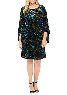Plus Size Burnout Velvet Bell Sleeve Dress