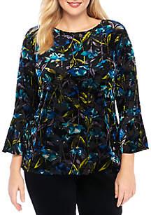 Plus Size Velvet Bell Sleeve Top