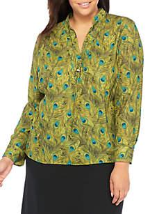 Plus Size Long Sleeve Printed Bolo Blouse