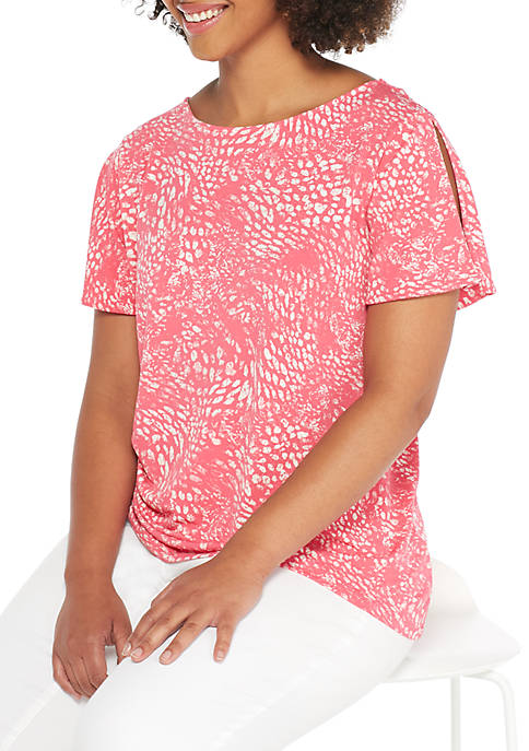 THE LIMITED Plus Size Flutter Sleeve Printed Blouse