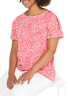 Plus Size Flutter Sleeve Printed Blouse