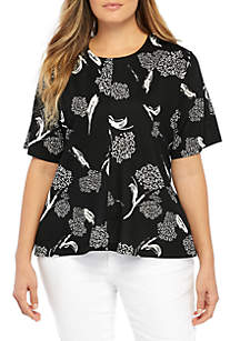 Plus Size High Low Round Neck Printed Top