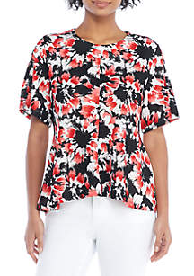 High Low Round Neck Printed Top