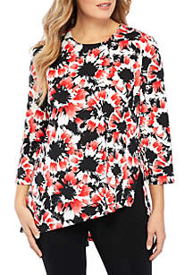 Plus Size Three-Quarter Sleeve High Slit Tunic
