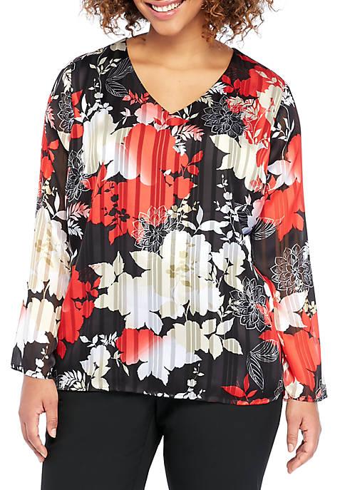 Plus Size V-Neck Long Sleeve Blouse
