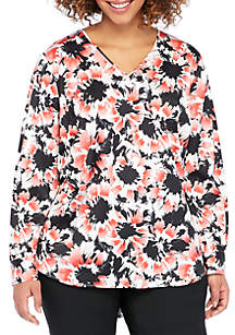Plus Size Puff Sleeve V-Neck Blouse