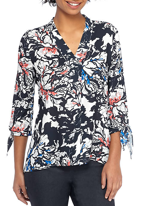 THE LIMITED Printed V-Neck Tie Sleeve Blouse