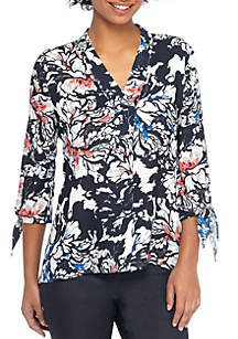 Printed V-Neck Tie Sleeve Blouse