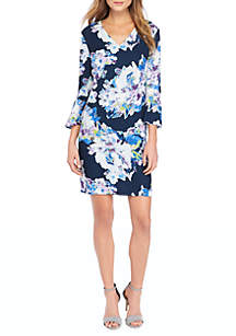 Petite Bell Sleeve Fluid Crepe Dress