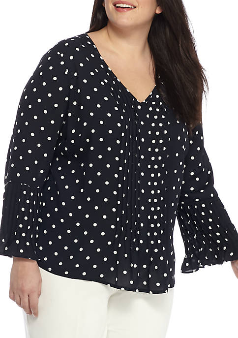 THE LIMITED Plus Size Pleat Printed Blouse
