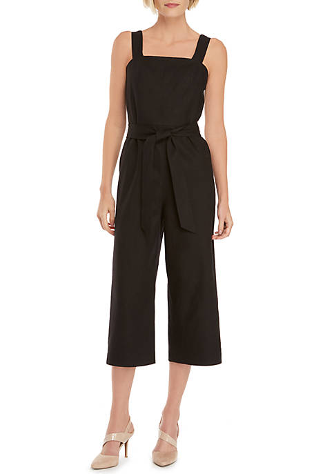 Linen Jumpsuit with Tie Waist