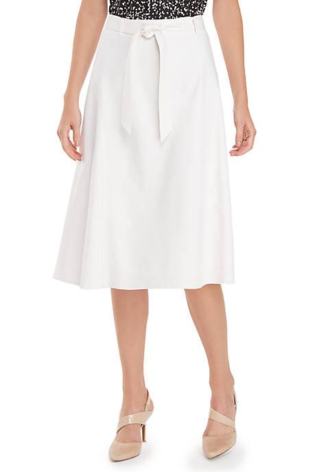 Linen Skirt With Tie Waist