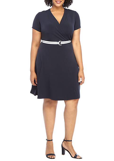 eef53e68719 Kim Rogers® Plus Size Shift Dress with Horseshoe Neck
