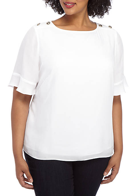Plus Size Button Short Sleeve Top