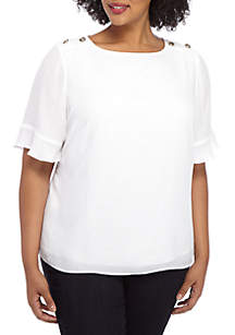 THE LIMITED Plus Size Button Short Sleeve Top