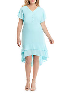 THE LIMITED Plus Size High Low Ruffle Dress