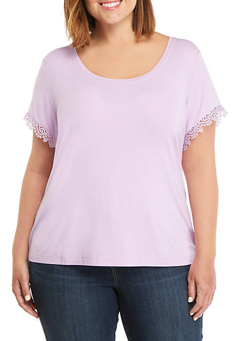 Plus Size Lace Trim T Shirt