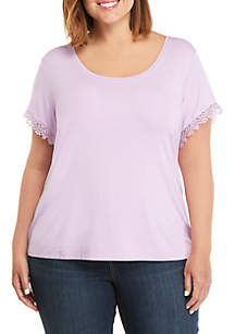 THE LIMITED Plus Size Lace Trim T Shirt