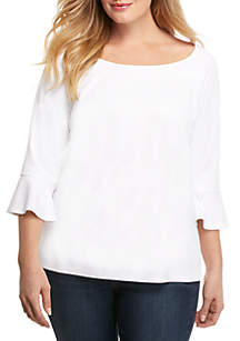 92f6b90fd3bbb4 ... THE LIMITED Plus Size 3 4 Ruffle Sleeve Top