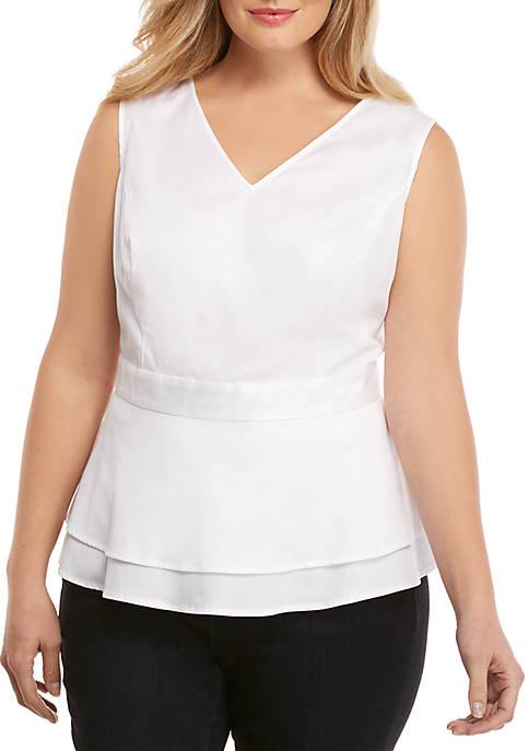 Plus Size Cotton Sleeveless Top