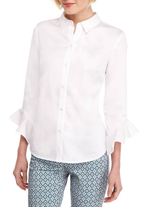 Petite Fashion Woven Button Down Shirt