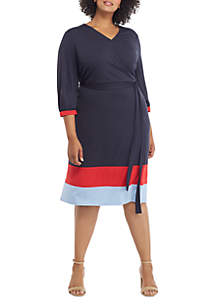 THE LIMITED Plus Size Surplice Color Block Hem Dress