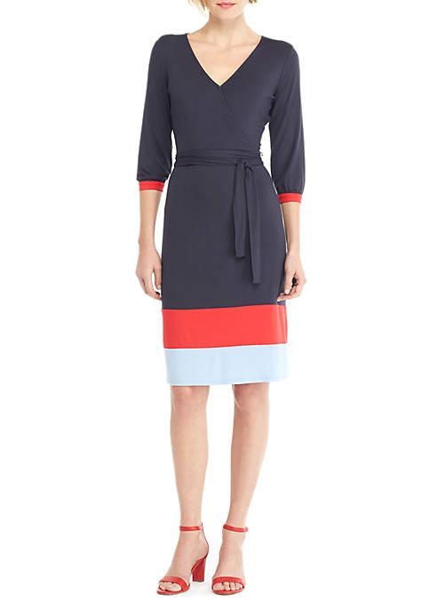 Petite Surplice Color Block Hem Dress