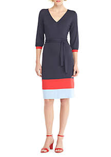 THE LIMITED Petite Surplice Color Block Hem Dress