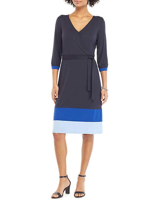 Womens Surplice Color Block Hem Dress