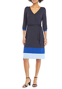 THE LIMITED Surplice Color Block Hem Dress