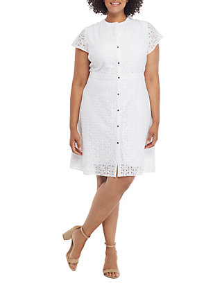 Plus Size Short Sleeve Floral Lace Button Down Dress