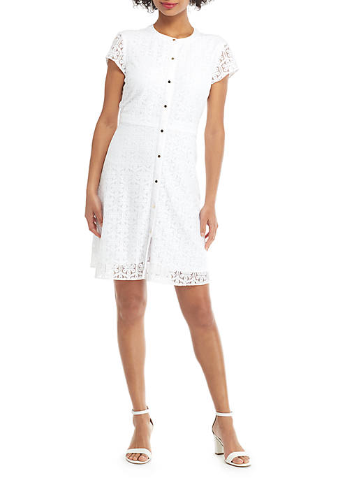 THE LIMITED Petite Short Sleeve Floral Lace Button