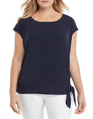 621879c94d13be THE LIMITED. THE LIMITED Plus Size Cap Sleeve Banded Bottom Tie Top
