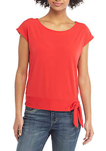THE LIMITED Petite Cap Sleeve Banded Bottom Tie Top