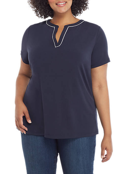 THE LIMITED Plus Size Short Sleeve V Neck
