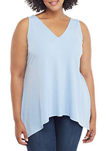 THE LIMITED Plus Size V Neck Handkerchief Hem Top