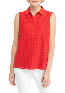 THE LIMITED Petite Sleeveless Collared Floral Lace Button Down Top