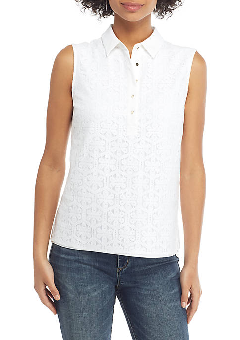 THE LIMITED Sleeveless Collared Floral Lace Button Down