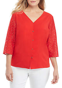 THE LIMITED Plus Size Long Sleeve V Neck Button Front Blouse