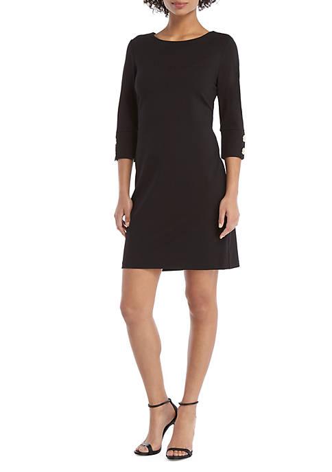 3/4 Sleeve Button Cuff Dress