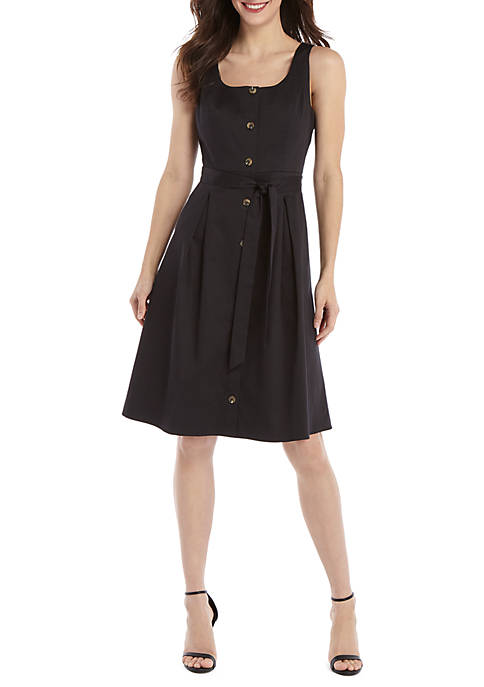 Sleeveless Tie Waist Dress