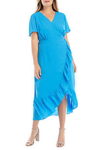 THE LIMITED Plus Size Short Sleeve Surplice Ruffle Dress
