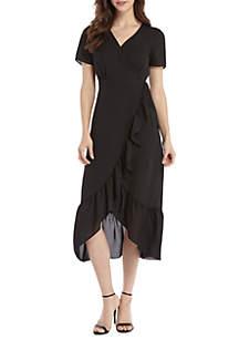 THE LIMITED Short Sleeve Surplice Ruffle Dress