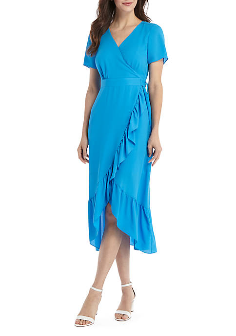 Short Sleeve Surplice Ruffle Dress