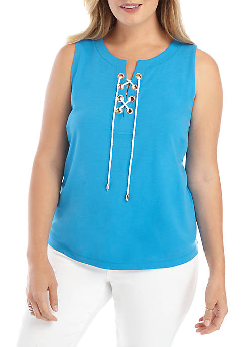 Plus Size Sleeveless Lace Up Grommet Top