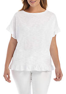 1ef22a608bf60 White Mark Plus Size Magdalena Tunic · THE LIMITED Plus Size Short Sleeve  Ruffle Hem Top