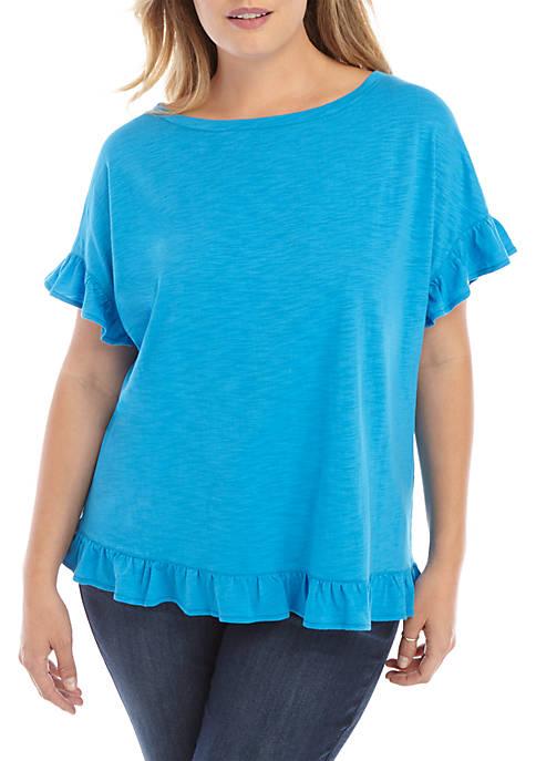 Plus Size Short Sleeve Ruffle Hem Top